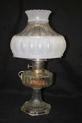 Antique Alladin B Rhombus Frosted Glass Hurricane Oil To Electric Table Lamp