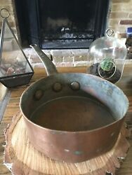 Albert Pick And Co Copper Cooking Pot Rustic Antique Chicago Iron Handle Rare