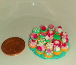 Cup Cake Miniatures On A Large Green Plate Dolls House Food 1/12 Scale Ooak