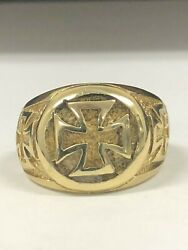 14kt Gold Iron Cross Ring New Skull Gothic Solid 925 Sterling Silver Maga Usa