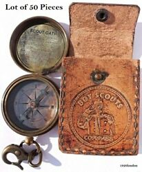 Antique Style Boy Scouts Brass Compass With Leather Case 50 Pieces Best Gift