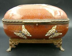 19th Century French Chinese Porcelain Butterfly Jewelry Box And Bronze Mounted
