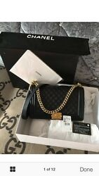 Chanel Black Quilted Leather Medium Boy Flap Bag. 100% Authentic.