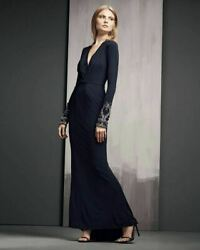 Badgley Mischka Collection Deep V Neck Gown Dress Sz 6 - Mrsp $915 Navy