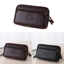 Men's PU Leather Belt Bag Waist Fanny Pack Cell Phone Pouch Wallet Purse Gift US
