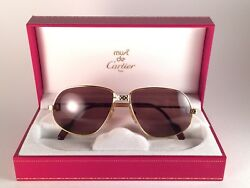 VINTAGE CARTIER PANTHERE 63MM 16 !LARGE! SUNGLASSES FRANCE 18K GOLD HEAVY PLATED