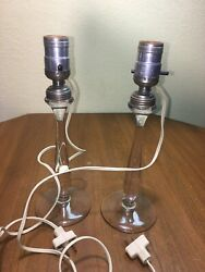 Pair Vintage Clear Glass Candlestick Lamps Round Bases As Shown