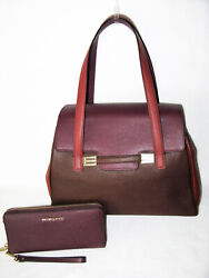 ETRO Dramatic PURPLE RED BROWN COLOR BLOCK TOTE & MICHAEL KORS WALLET NWT $2348