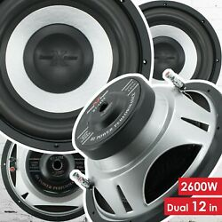 Pair Of Soundxtreme 12 Inch 2600 Watt Car Audio Subwoofer With Dvc Power 2 Sub