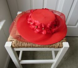 One Size Vintage Red Solid Hat Flower + Lace Detail Gold-like Hardware