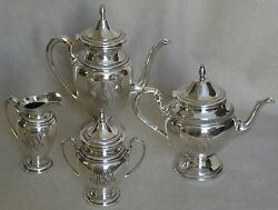 Custom Sterling Silver 4 Piece Coffee/tea Service By Ellmore And Gorham Post 1935