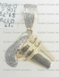 Real 10k Yellow Gold Genuine Diamond Lean Cup Cough Syrup Dripping Pendant Charm