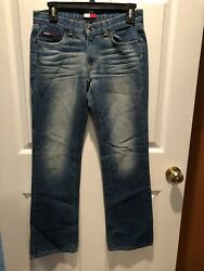 Nice Tommy Jeans Women's 5 31 Flag Patch Hilfiger Optic Wash Jeans!