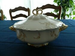 Haviland Limoge China Norma Yellow And Pink Flowers Covered Soup Tureen  7-4