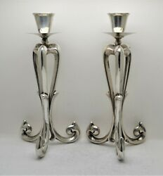 + Nice Antique Pair Of Ornate Candlesticks + 7/8 Socket + Chalice Co + Ca404