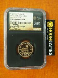 2018 South Africa 1/4 Oz Gold Krugerrand Ngc Pf70 First Day Of Issue Tumi Signed