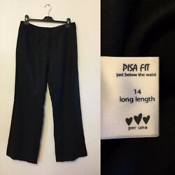 Pisa Fit Per Una 14 Long Black Linen Trousers Wear To Work Marks And Spencer