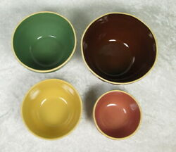 Set of 4 Gooseberry Pottery Patch Mixing Bowls