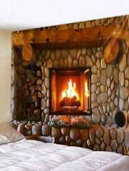 Vivid Fireplace Tapestries Wall Hanging Tapestry Wall Blankets Home Dorm Decor
