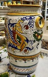 Deruta Pottery-21,1/2x10 Inch Tall Vase Raffaellesco Made/painted By Hand-italy.