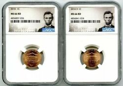 2016 P And D Cent Ngc Ms66 Union Shield 2 Coin Lincoln Label Set - You Get Both