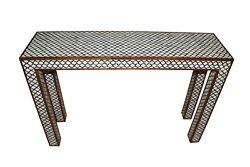 Indian Mughal Design Wood And Bone Inlay Console Table