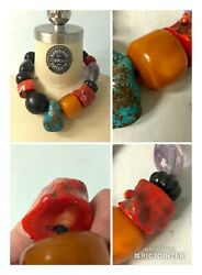 Necklace of Natural Red Coral Turquoise Butterscotch Amber & Amethyst Chunks