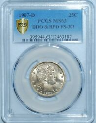 1907 D Pcgs Ms63 Fs-301 Ddo + Rpd Repunched Date Doubled Die Obv Barber Quarter
