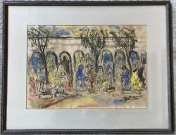 Mid Century Painting - Mexican Artist - Signed Appelbaum - Flower Market Mexico