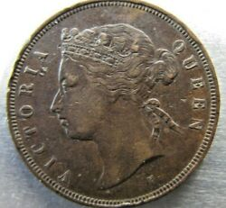 Mauritius 5 Cents 1882-h Toned Vf, Some Edge Nicks But Scarce Year