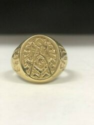 New 10kt 14kt Gold 925 Sterling Silver Masonic Ring Fraternity Legacy Antique