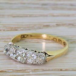 VICTORIAN 1.07ct OLD MINE CUT DIAMOND FIVE STONE RING - 18k Gold - dated 1881