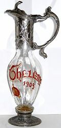 Art Nouveau Glass Decanter Pewter Pitcher 1905 Law Of Theleme - Love Red Enamel