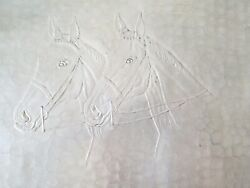 Extra Large Vintage Hand Forged Aluminum Butler Serving Tray Horses 23 X 14