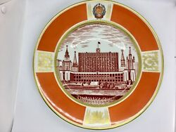 Antique Large Porcelain Soviet Russian Hand Painted 12andrdquo Plate.