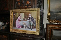 Lovely Antique Salon Parlor Painting