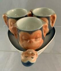 Vtg Goebel Egg Cup Set Monkey Monkies 3 Egg Cups And Tray Really Cute