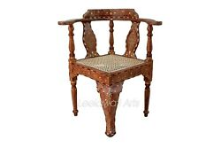 Handmade Indian Camel Bone Inlay Modern Wooden Furniture Chair Brown Color