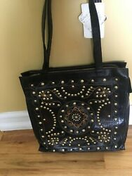 Hobo intl NWT black leather with studs and embroidery tote bag