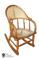 Antique Early American Bentwood Childs Cane Back Seat Pine Rocking Chair Rocker