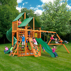 Gorilla Playsets Great Skye I Wooden Swing Set Green Vinyl Canopy Kid Playground