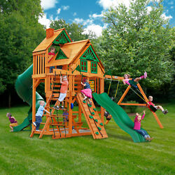 Gorilla Playsets Great Skye I Wood Swing Set With Treehouse Kids Playground