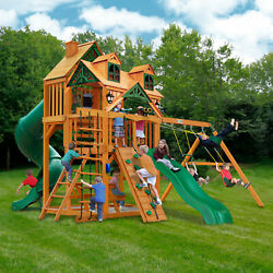 Gorilla Playsets Great Skye I Cedar Swing Set Malibu Wood Roof Kids Playground