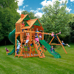 Gorilla Playsets Great Skye I Cedar Swing Set With Wood Roof Kids Playground