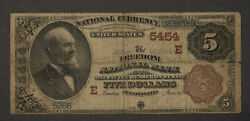 1882 5 National Bank Note - Freedom Nb, Pa 5454 Brown Back Great Name Ca008