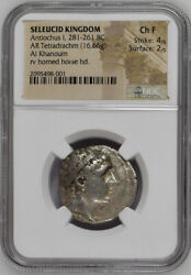 ANTIOCHOS I Silver TETRADRACHM 280BC Ancient Greek Coin w HORNED Horse RARE NGC