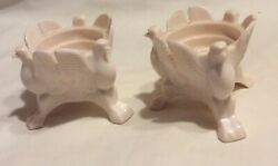 Jeannette Glass Milk Pink Eagle Candle Holder 3 Footed 1957 - 1959 Opaque Shell