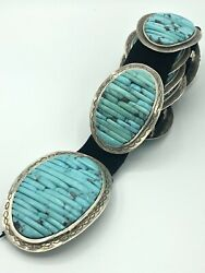 Turquoise And Sterling Silver Concho Belt Handmade By Carlos Eagle Ottawa Native