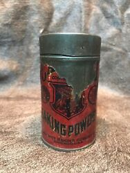 Antique 8 Ounce Tin.calumet Baking Powder Paper Label Early 1900s Canister.rare