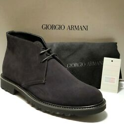 Armani High-laced Dress Mens Suede Leather Fashion Boots Casual Navy Blue Desert